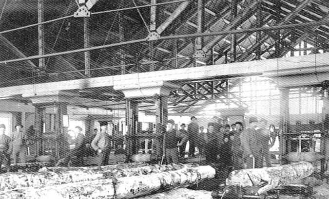 Interiör från såghuset i början av 1900-talet