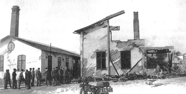 Yrkesskolan efter branden 8 mars 1933