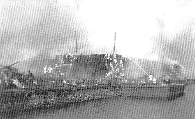 Massahuset förstördes i en brand 4 augusti 1955